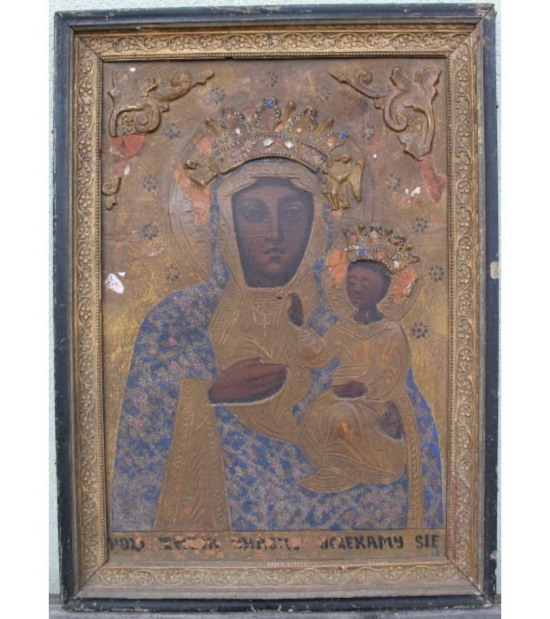 Antikvarine lenkiska Cestakavos dievo motinos ikona. Kaina 117 Eur.