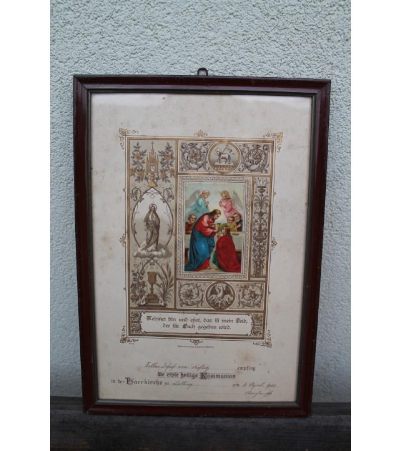Baznytinis kriksto proginis paveikslelis, 1902 m. Kaina 26 Eur.