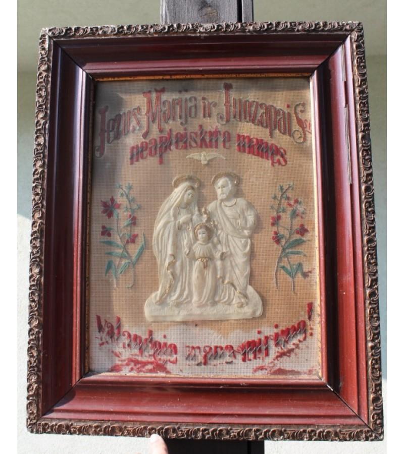 Antikvarinis siuvinetas religinis paveikslas. Kaina 62 Eur.