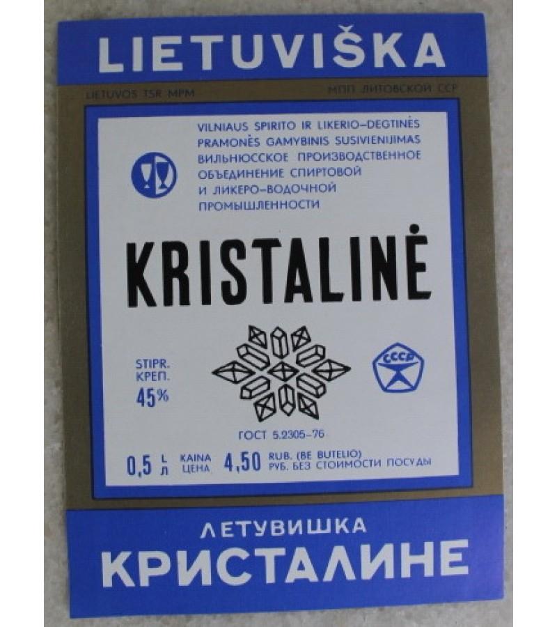 Etiketė degtinės Lietuviška kristalinė. Kaina 0,56