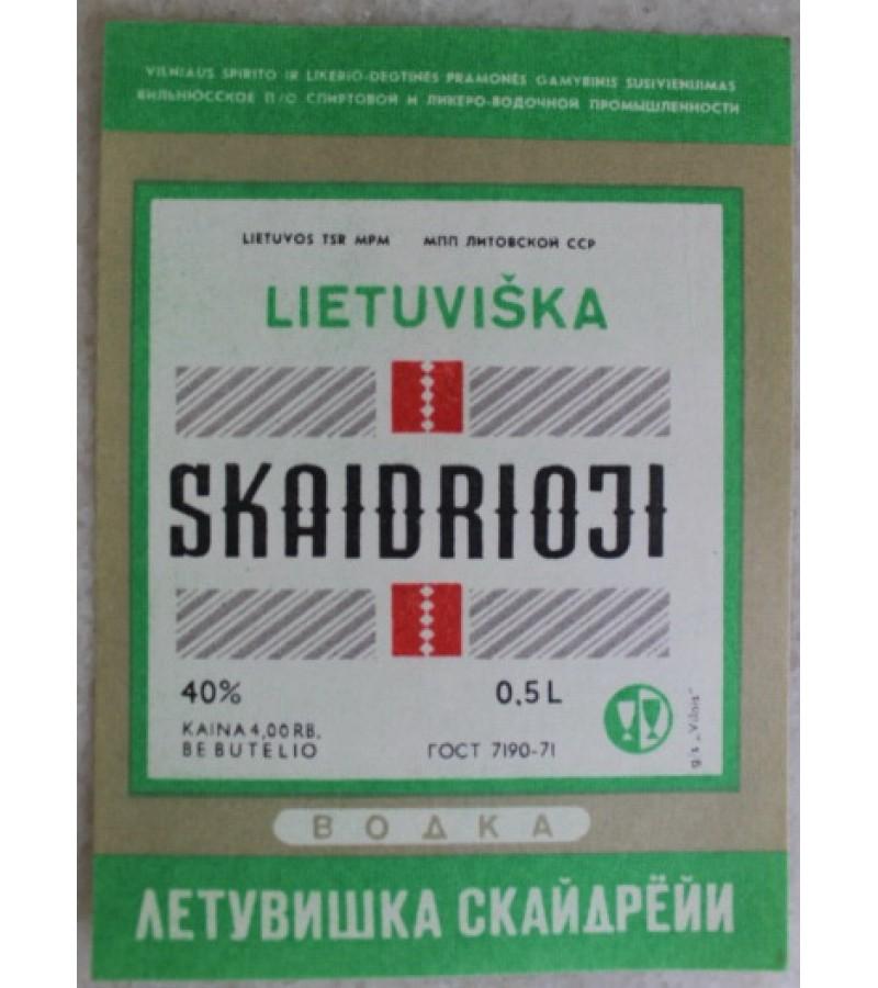 Etikete Lietuviska skaidrioji. Kaina 0,56
