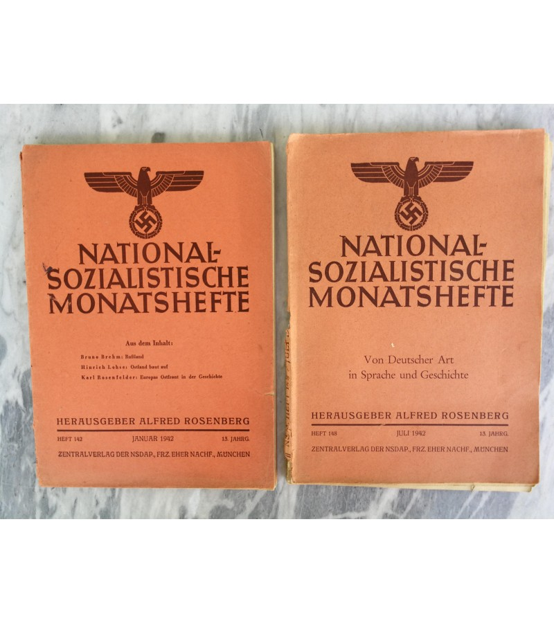 Hitlerio nacionalsocialistu zurnalai. 2 vnt. 1942 m. Kaina po 17