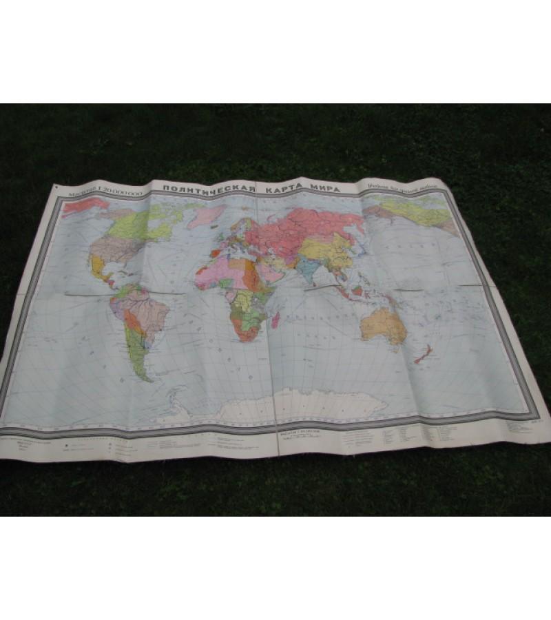 Politinis pasaulio žemėlapis. Tarybinis, 1959 m. Kaina 32 Eur.