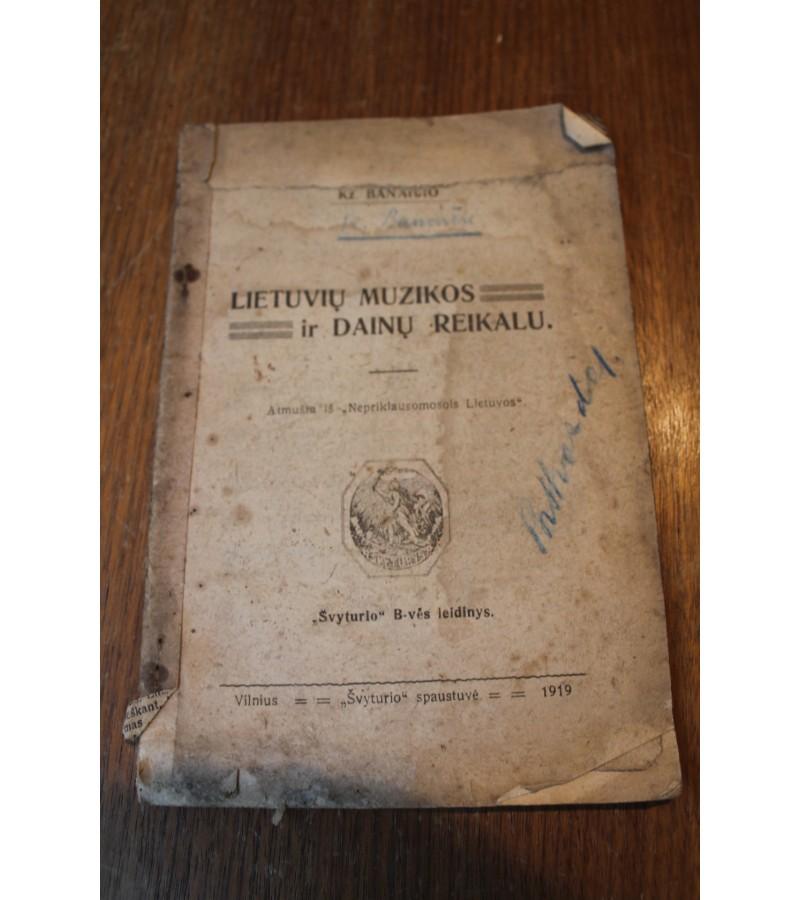 Brosiura Lietuvos muzikos ir dainu reikalu. 1919 m. Kaina 8