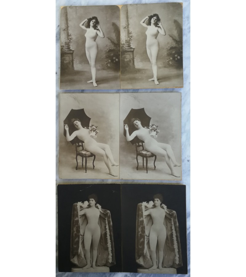 Erotines stereoskopo nuotraukos. 3 vnt. Kaina po 8