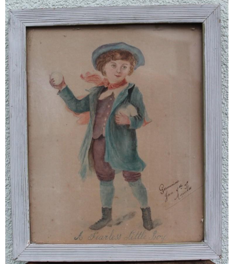 Antikvarinis tapytas paveikslelis Bebaimis berniukas. Kaina 53