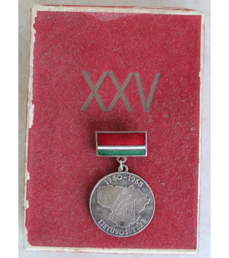 Medalis Lietuvos TSR 25 m. su dezute. Kaina 22
