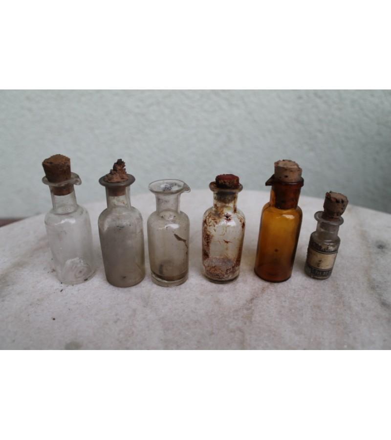 Tarpukario vaistines buteliukai. 6 vnt. Kaina po 4 Eur.