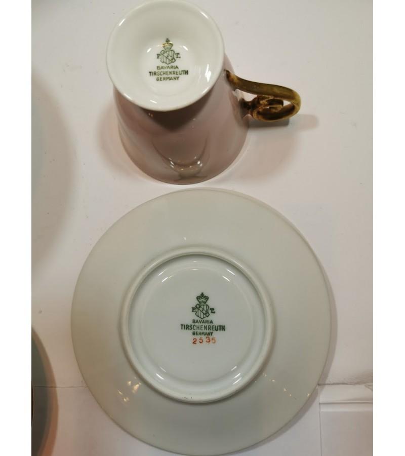 Puodeliai su lėkštutėmis porcelianiniai Bavaria Tirshenreuth Germany. LIKO 6 vnt. Kaina po 8 už vnt.