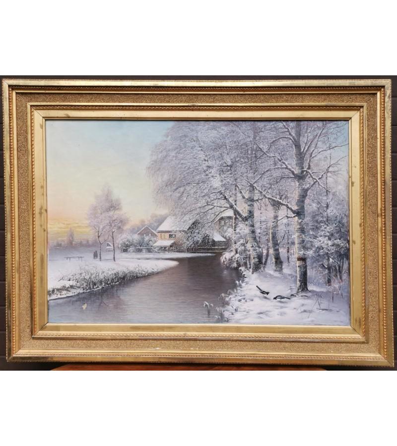Paveikslas Žiemos peizažas, antikvarinis, didžiulis mediniu rėmu. Kaina 335