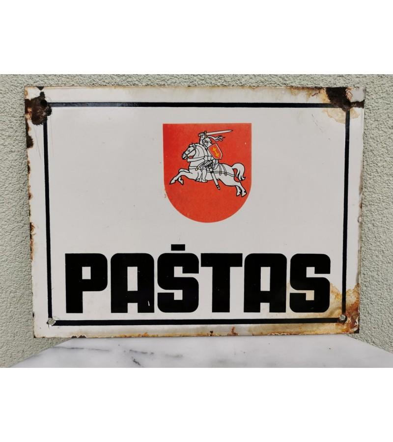 Pašto iškaba lietuviška PAŠTAS, emaliuotos storos skardos. 1990 m. Kaina 205