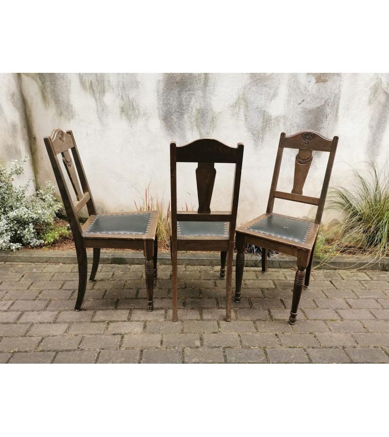Kėdės antikvarinės, tvirtos su oda. 3 vnt. Kaina po 37