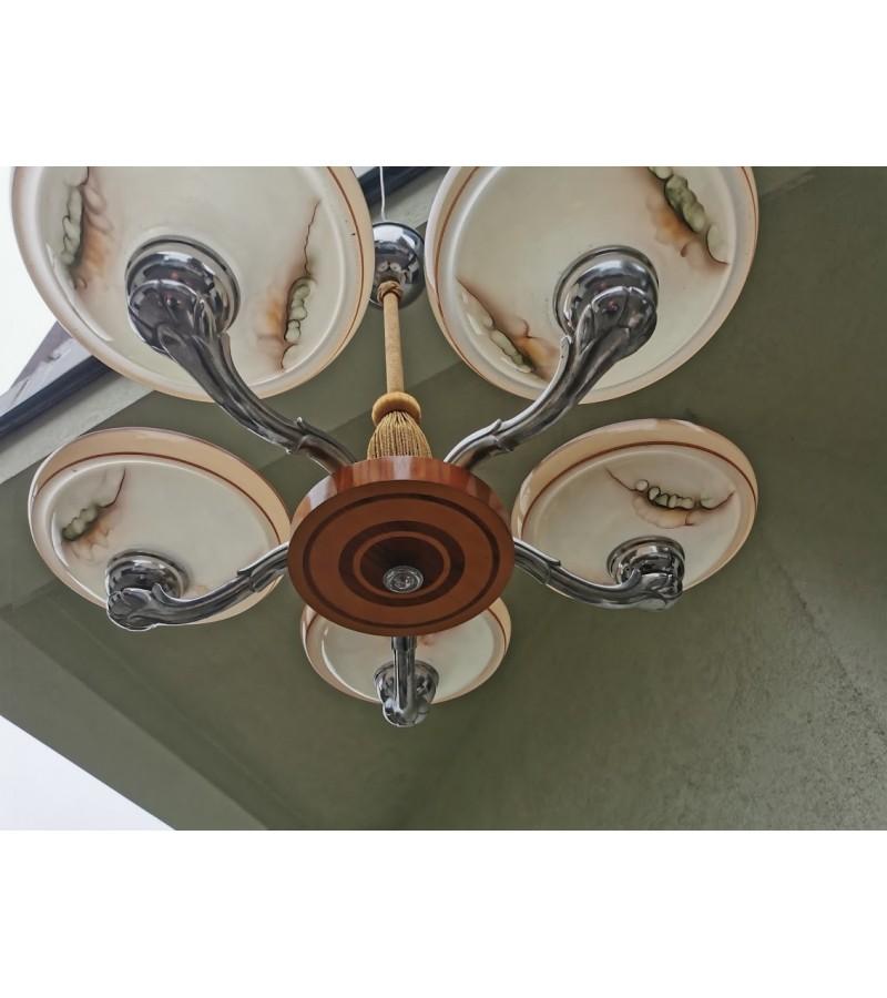 Šviestuvas antikvarinis, Art Deco stiliaus. Medis, nikeliuotas metalas, stiklas. Kaina 385