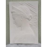 Bareljefas gipsinis Moters profilis. Kaina 52
