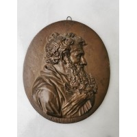 Bareljefas antikvarinis, bronzinis Šv. Paulius. Kaina 28