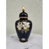 Vaza su dangčiu, urna. Alka Bavaria Fine Kobalt Rosalind Germany. 22 ct gold. Aukštis 24 cm. Kaina 36