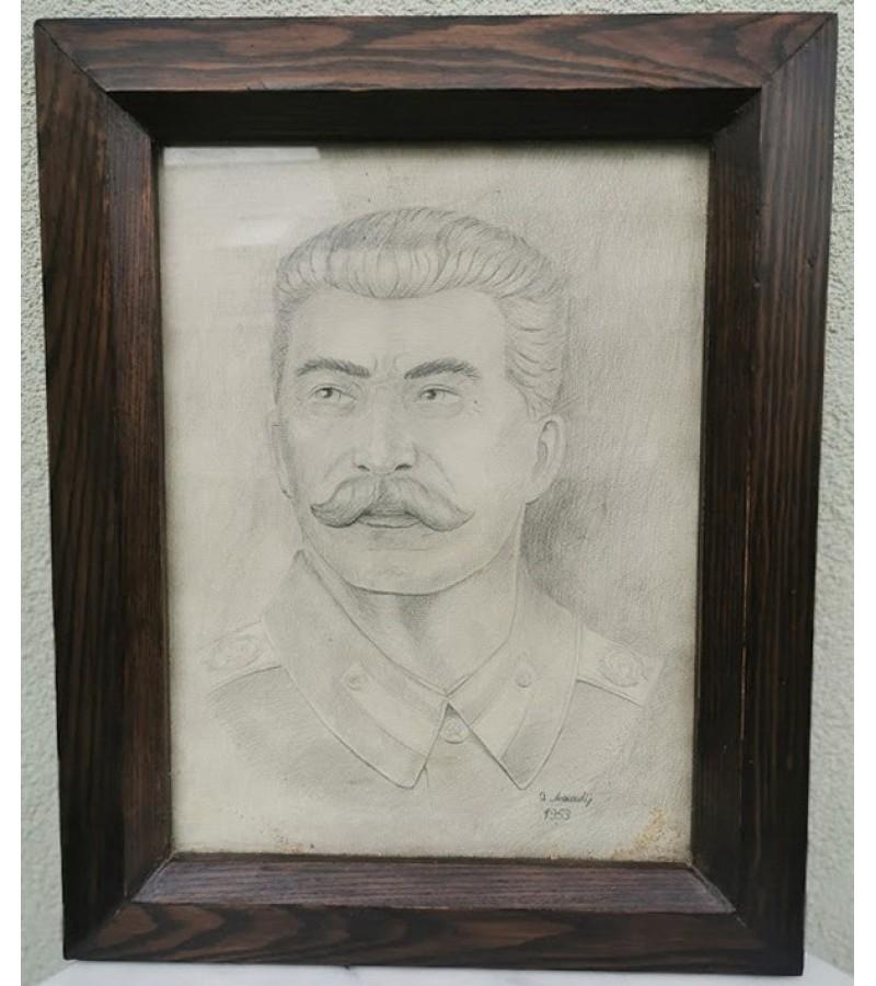Stalino portretas. 1953 m. Portrait of Stalin. 1953. Originalas. Kaina 128
