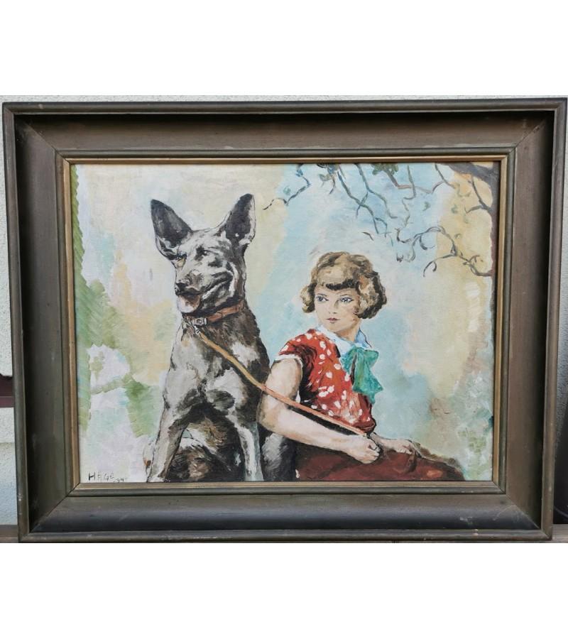 Paveikslas Mergaitė su šuniu, antikvarinis, 1934 m. Kaina 137