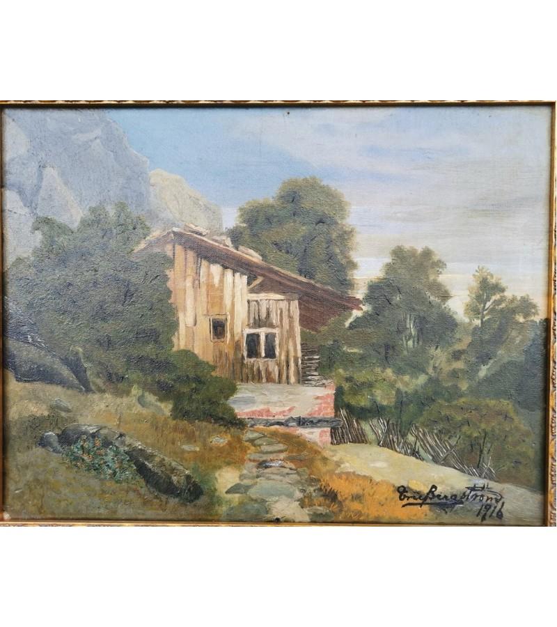 Paveikslas Peizažas su namu. Aliejus, drobė. 1916 m. Kaina 87