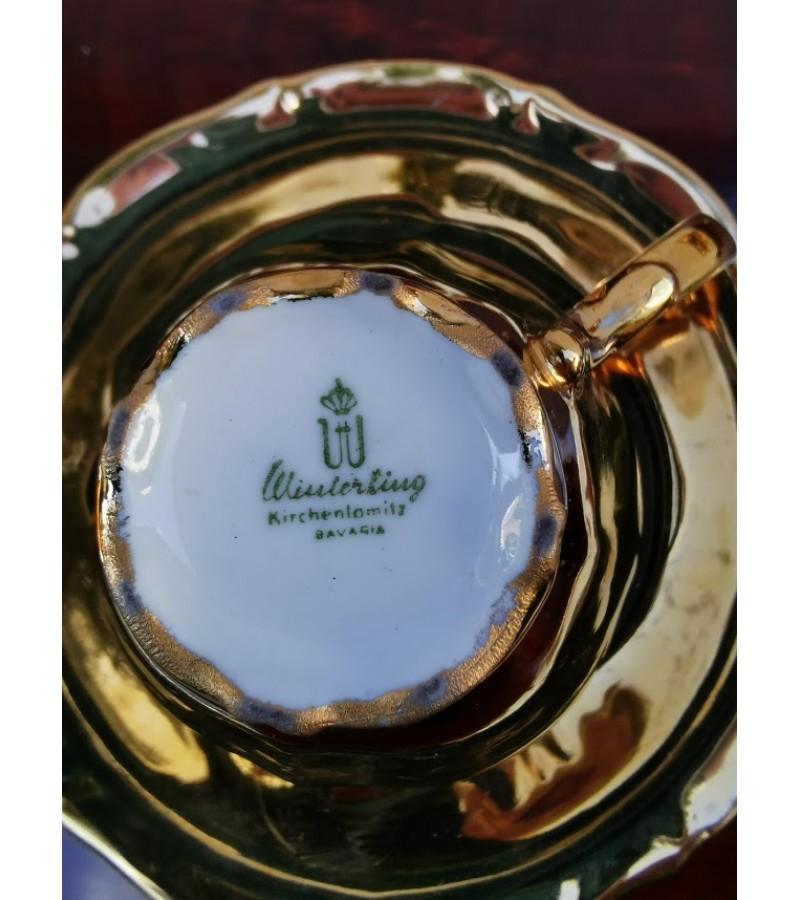 Puodeliai su lėkštutėmis aukso spalvos. Bavaria, Germany. 7 vnt. Kaina po 12
