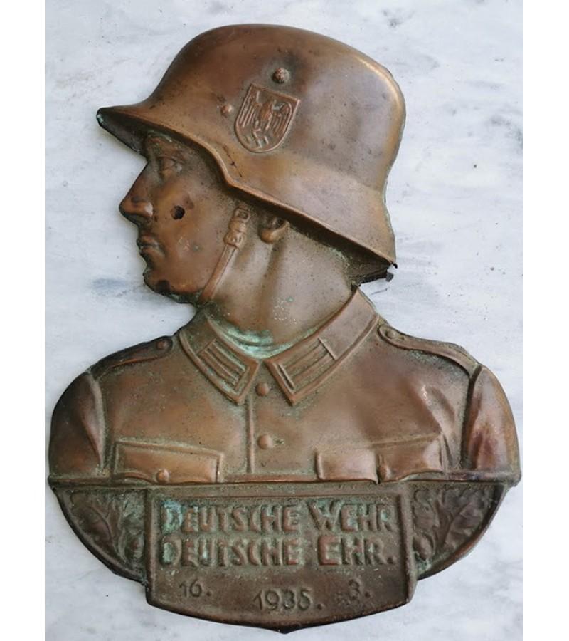 Plaketė varinė vokiečių kariškio Deutsche Wehr Deutsche Ehr. 1935. Kaina 72