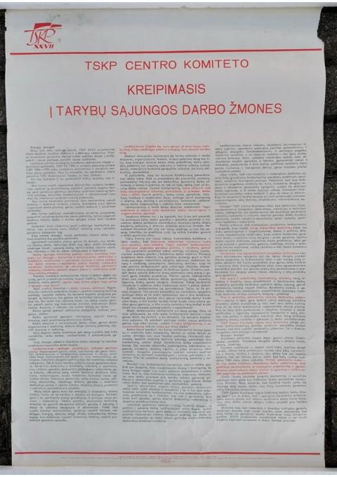 Plakatas sovietinis, propagandinis: TSKP CK kreipimasis į Tarybų Sąjungos darbo žmones. 1986 m. Kaina 6