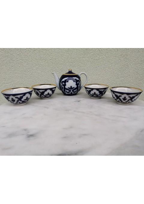 Arbatinis su puodeliais-dubenėliais. Porcelianinis, tarybinių, sovietinių laikų. Kaina 62