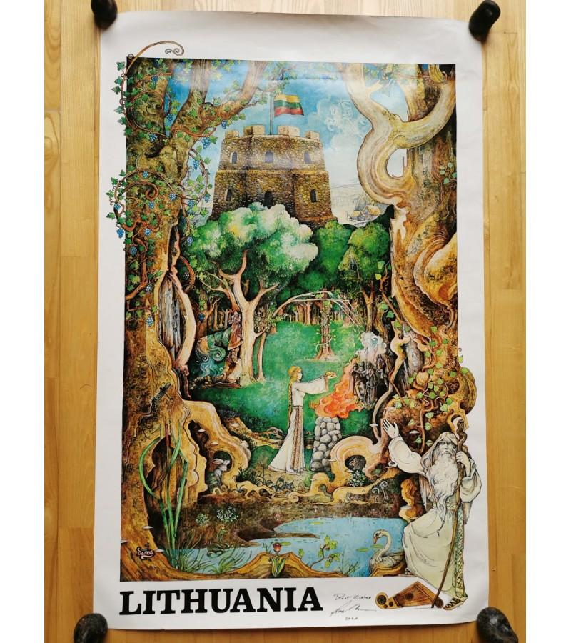 Plakatas LITHUANIA. Gintaras Karosas, 1977 m. Pasirašytas autoriaus. Originalas. Kaina 385