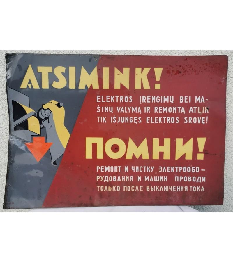 Lentelė, iškaba skardinė, tarybinė. Vintage Plate, Signboard Tin, Soviet times. Kaina 32