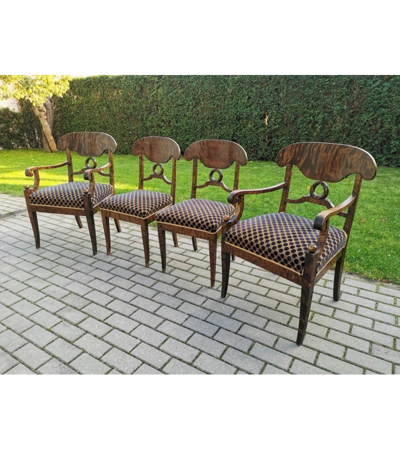 Krėslai, kėdės antikvariniai, Biedermeier stiliaus. 4 vnt. Kėdės po 67. Krėslai po 127. Kaina už visus - 360