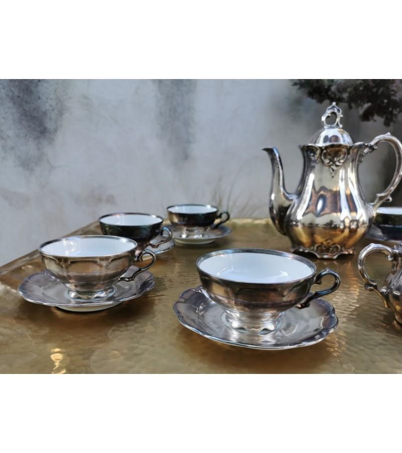 Servizas porcelianinis, antikvarinis, metalo spalvos, Kaina 87