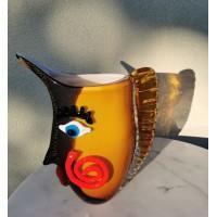 Vaza Moters veidas. Picasso stilius. Spalvotas stiklas, pagaminta Prancūzijoje. Kaina 87