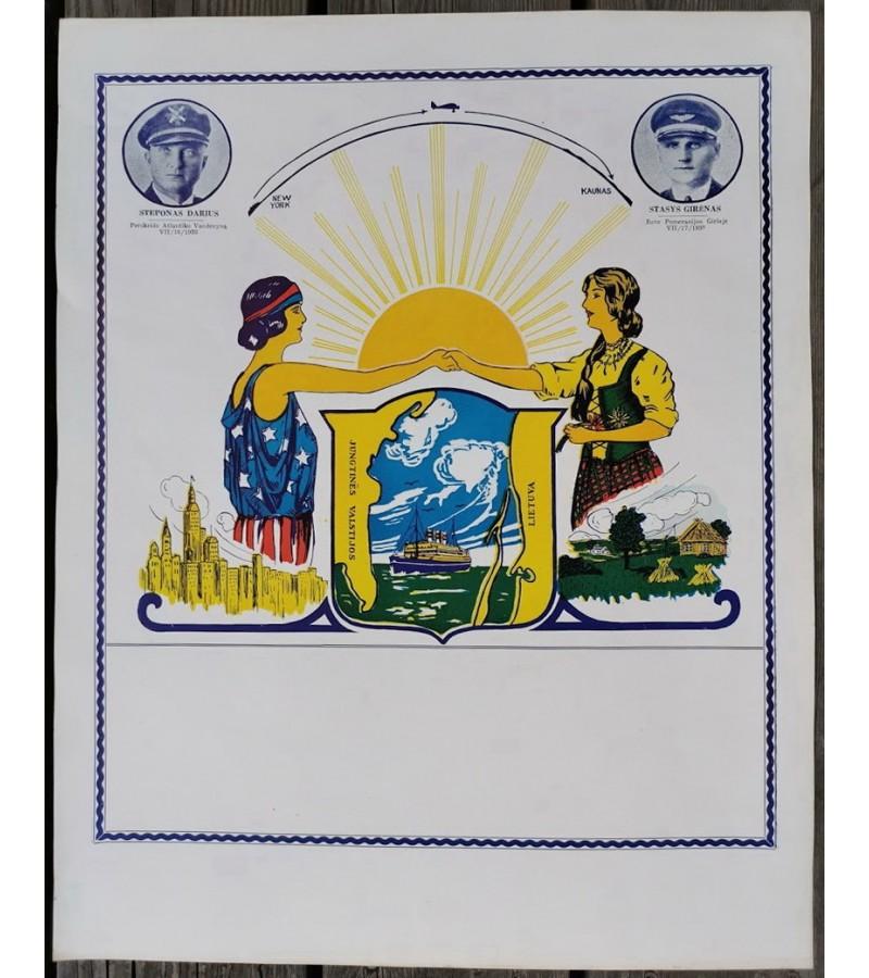 Plakatas tarpukario Darius ir Girėnas. Kaina 72