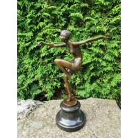 """Statula bronzinė Art Deco Šokėja. 1925 m. Ferdinand Preiss """"Con Brio"""" kopija pagaminta Prancūzijoje. Stunning,""""Con Brio"""", Pure Bronze, Art Deco, F Preiss Figurine. Kaina 187"""