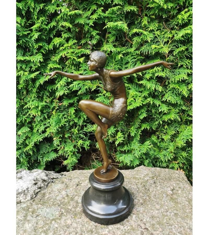 """Statula bronzinė Art Deco Šokėja. 1925 m. Ferdinand Preiss """"Con Brio"""" kopija pagaminta Prancūzijoje. Stunning,""""Con Brio"""", Pure Bronze, Art Deco, F Preiss Figurine. Kaina 227"""