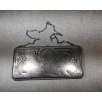 Delninukė sidabrinė tarpukario, piniginė, kosmetinė antikvarinė. Praba 875. Svoris 284 gr. Kaina 375