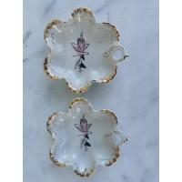 Lėkštelės porcelianinės. 2 vnt. Rygos porceliano fabrikas. Kaina 8 už abi.