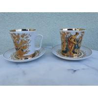 Puodeliai su lėkštutėmis LFZ, porcelianiniai, dideli. 2 vnt. Talpa 320 ml. Kaina po 16