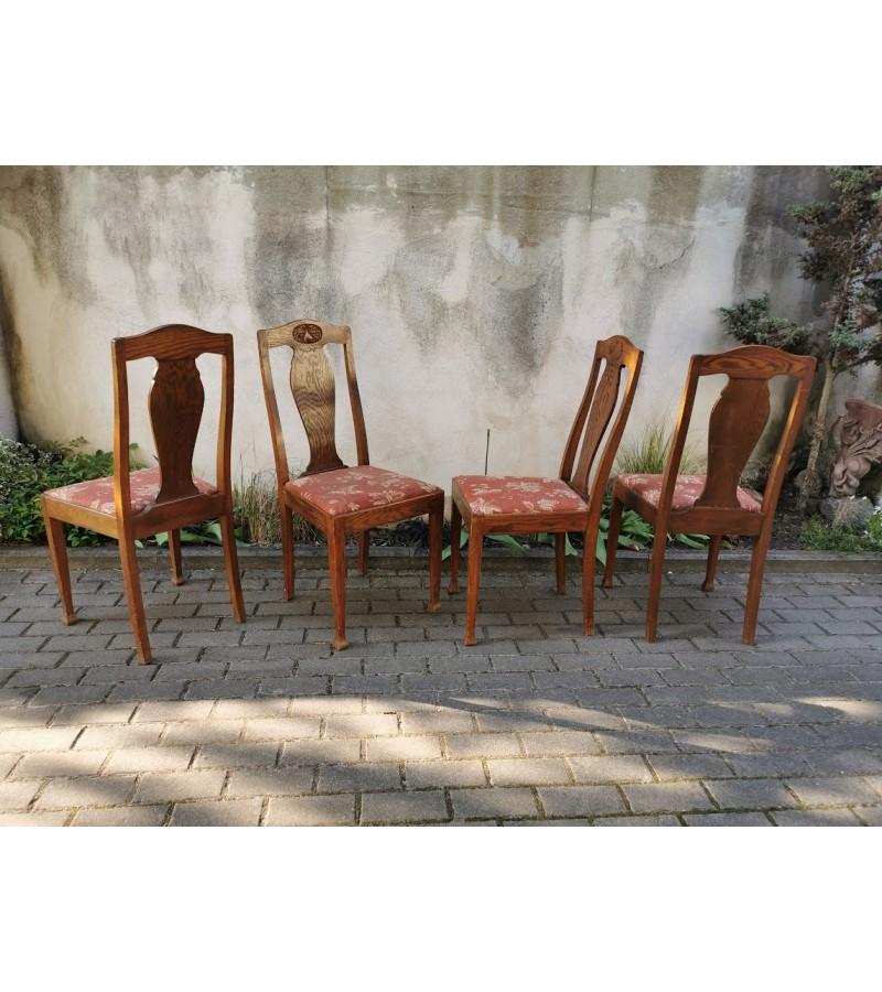 Kėdės antikvarinės, ąžuolinės, Jugendstil  stiliaus. 4 vnt. Kaina po 26