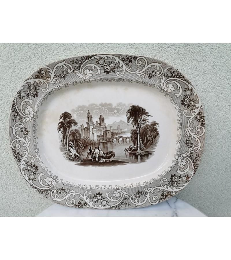 """Lėkštė pakabinama, antikvarinė, porcelianinė, didelė. Staffordshire Transferware Platter """"Rhine"""". Kaina 82"""