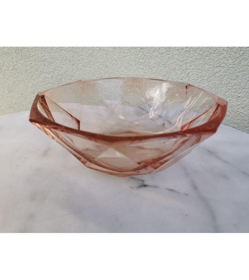 Vaza, vaisinė, saldaininė antikvarinė, Art Deco stiliaus, tarpukaris. Presuotas stiklas. Kaina 32