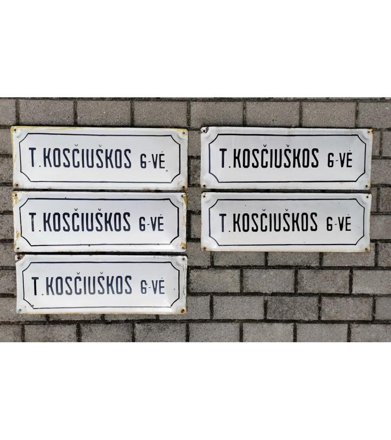 Iškabos, lentelės emaliuotos, sunkios - gatvės pavadinimai tarybinių laikų T. KOSČIUŠKOS G-VĖ. Kaina 27