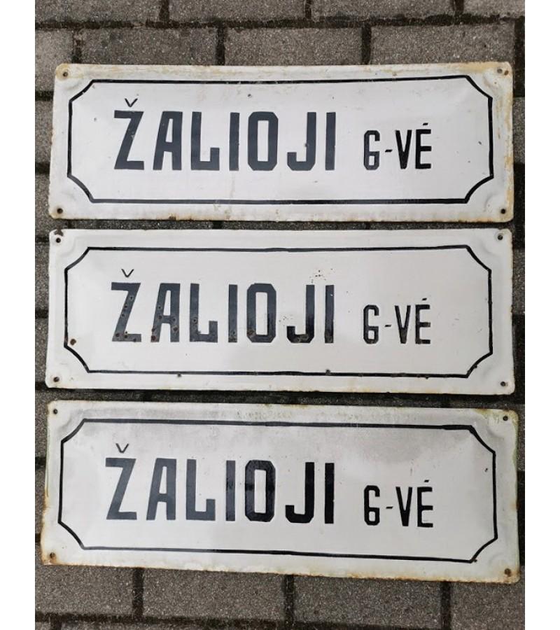 Iškabos, lentelės emaliuotos, sunkios - gatvės pavadinimai tarybinių laikų ŽALIOJI G-VĖ. 3 vnt. Kaina po 27
