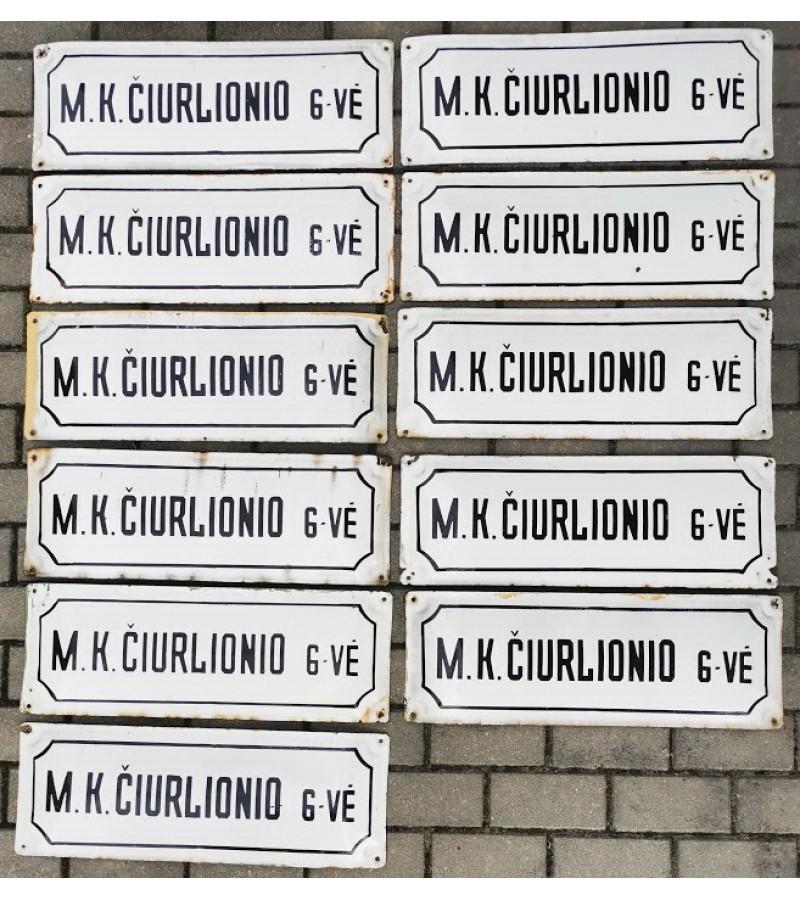 Iškabos, lentelės emaliuotos, sunkios - gatvės pavadinimai tarybinių laikų M. K. ČIURLIONIO G-VĖ. 11 vnt. Kaina po 27