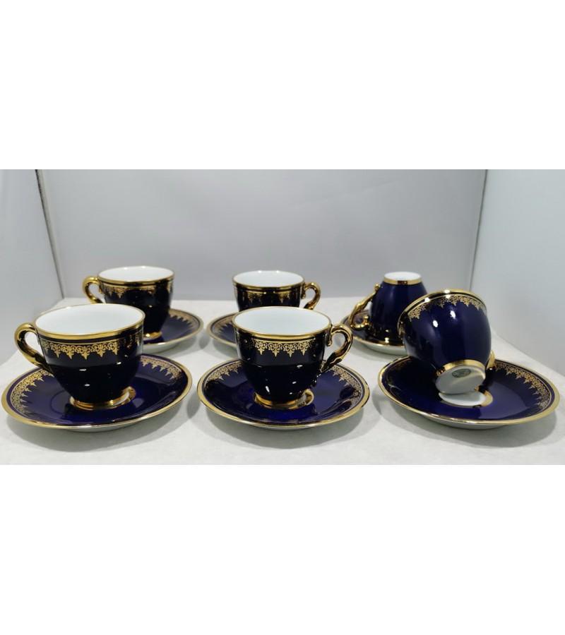 Puodeliai su lėkštutėmis porcelianiniai Limoges France. Talpa 60 ml. LIKO 5vnt. Kaina po 18