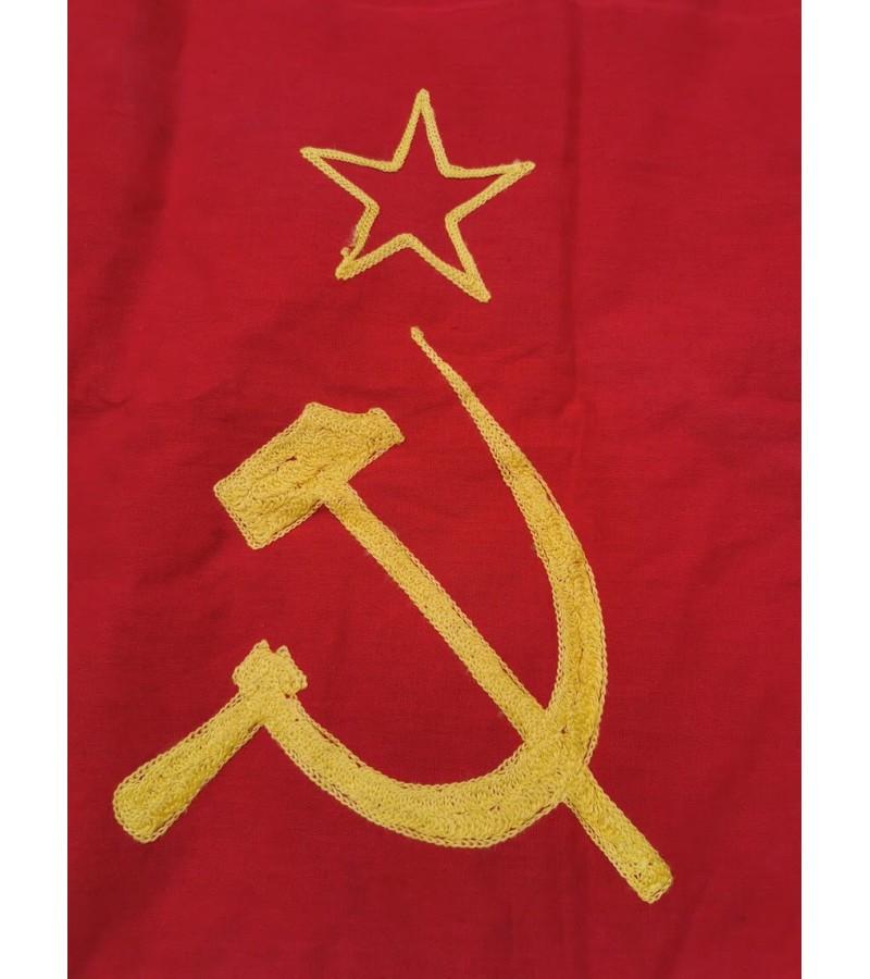 Vėliava TSRS laikų, originali, siuvinėtu kūju ir pjautuvu. Kaina 62