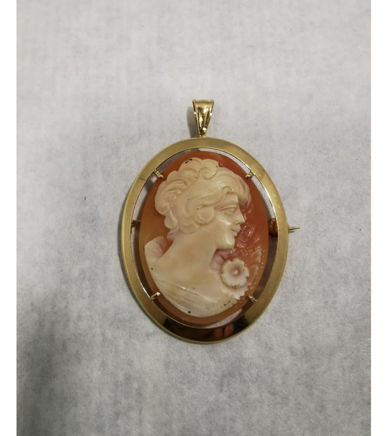 Kamėja (Cameo) auksinė sagė, pakabukas. Aukso praba 12 Karatų (585). Kaina 187