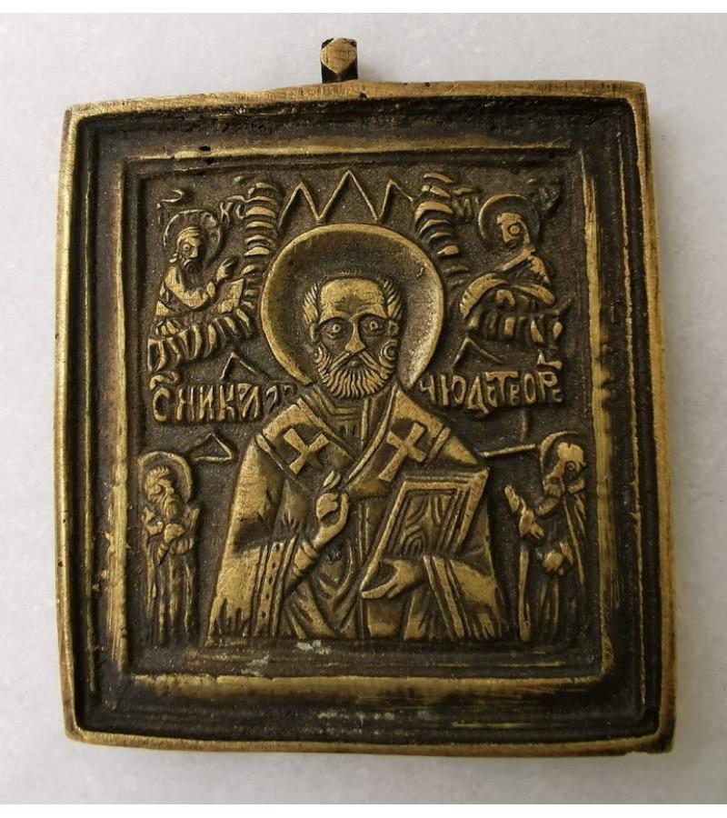 Plaketė antikvarinė, bronzinė Sv. Nikolaj, rusų stačiatikių. Kaina 47