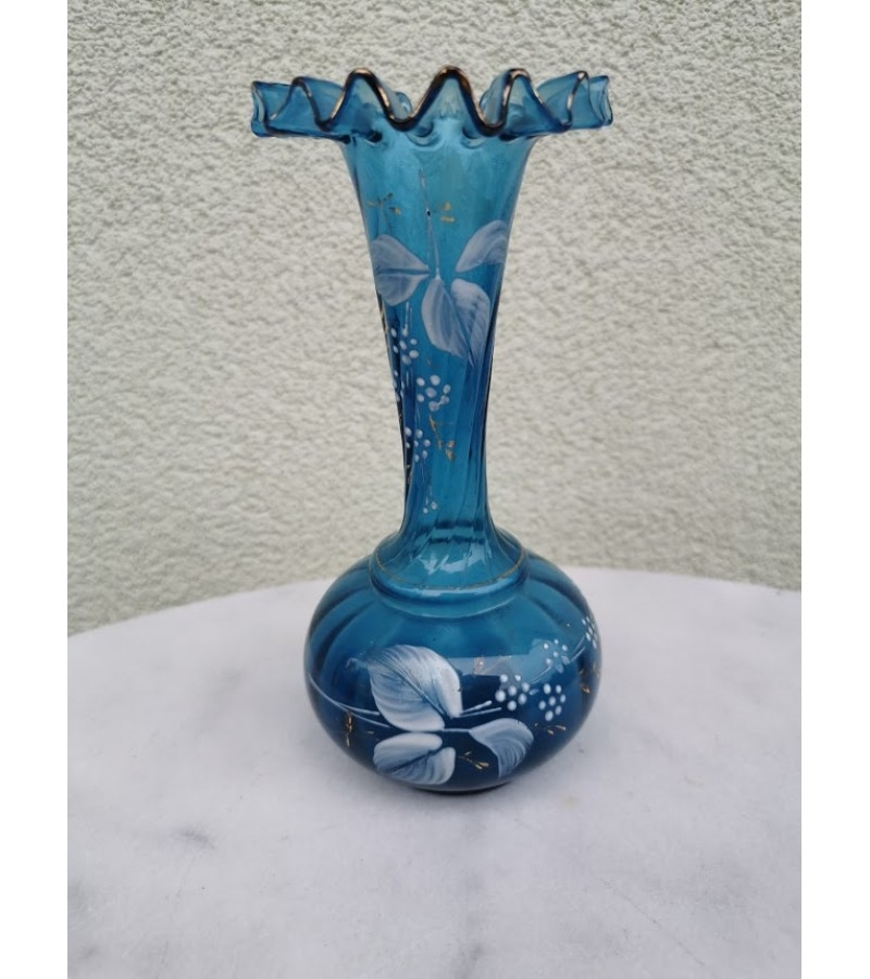 Vaza stiklinė, antikvarinė, tarpukario, 1920-30 m. Kaina 47