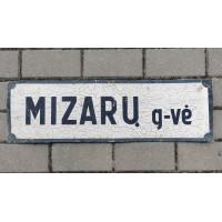 Iškaba, lentelė, skardinė tarybinių laikų gatvės pavadinimas. MIZARŲ g-vė. Kaina 13